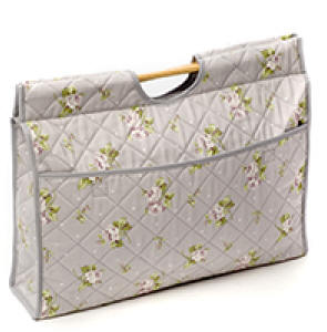 Grey with Flower Print Craft Bag
