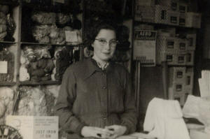Diane in Peaches Wool Shop Peterborough in the 1950's